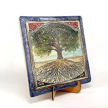 Tree Of Life Handmade Ceramic Wall Plaque Amazing Art