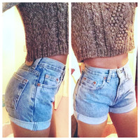 Original Blue High Waisted Shorts levis wrangler, gap, guess