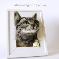 Cat portrait one of a kind, memorial cat portrait, pet framed portrait, made to order needle felting cat