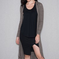 Teen Bell Rib Knit Hooded Maxi-Length Open-Front Duster Cardigan - Charcoal