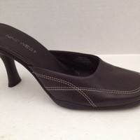 Nine West Shoes Womens Size 7.5 M Brown Heels Slides Leather 7 1/2 M