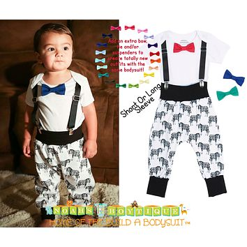Little Hipster Baby Boy Zebra Pant Set by Noah's Boytique