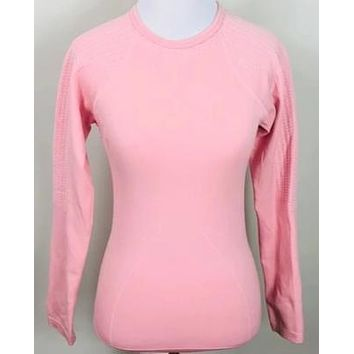 Nike Textured Long Sleeve Pink Active Fitness