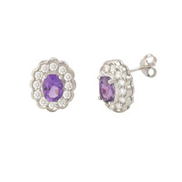 Amethyst Gemstone Stud Earrings 925 Sterling Silver Fancy Oval CZ Accent