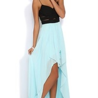 Two Tone High Low Prom Dress with Wrapped Fabric Illusion Waist