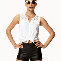 Lace Tie-Front Top | FOREVER 21 - 2037941898