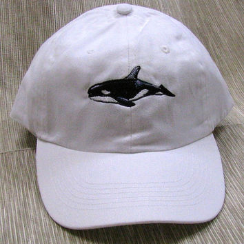 Orca Whale Embroidered on White Baseball Cap