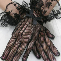 Black Lace Cuffs Mesh Gloves