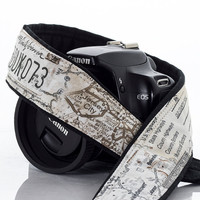 Map Camera Strap, Men's, Women's, dSLR, SLR, Camera Neck Strap, Canon camera strap, Nikon camera strap,  Pocket, Mirrorless, Photography 254