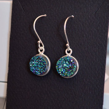 Teal Druzy Earrings, Peacock Color Drusy, Sterling Silver Jewelry, Drop Earrings, Raw Crystal, Free Shipping