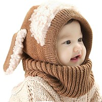 Girls Children Kids Boys Rabbit Long Ear Baby Bonnet Cap Soft Crochet Hats with Scarf Children's Baby Hat Caps