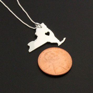 New York necklace sterling silver New York state necklace with heart comes with Box chain - I love New York