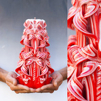 Carved candles -  Red candle - Large candle - Bougies sculptées