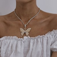 Elegant jewelry temperament single layer claw chain diamond necklace exaggerated diamond large butterfly necklace
