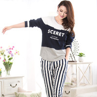 Women long-sleeved pajamas sets new autumn winter 2016 women's knitted cotton leisure suit tracksuit women clothing