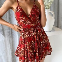 Sexy Print Short Dress Women Strap V Neck Backless Dress Holiday Floral Bow Chiffon Dress