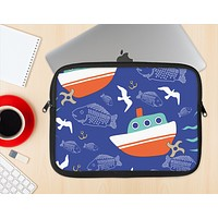 The Blue Vector Fish and Boat Pattern Ink-Fuzed NeoPrene MacBook Laptop Sleeve