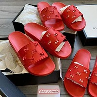 LV Louis vuitton  G GG hollow women's solid color slippers shoes Red