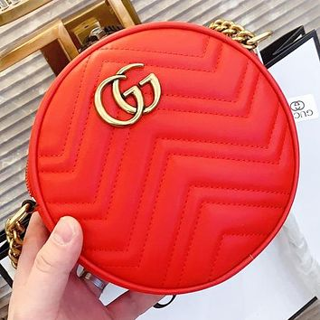 GUCCI New fashion leather round crossbody bag shoulder bag Red