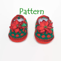 PATTERN for baby booties: Christmas Crochet Baby booties, Baby girl crochet pattern, Christmas crochet pattern, Crochet poinsettia, Newborn