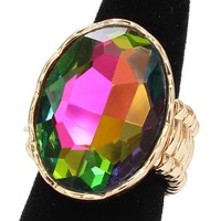 """1.20"""" oval crystal cocktail stretch ring"""
