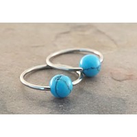 Pair of Turquoise Stone CBR Hoop Earrings Tragus Helix Conch