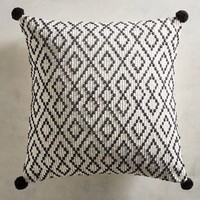 Textured Black Diamonds Pillow with Poms