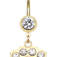 Golden Colored Brass Knuckle Sparkle Belly Button Ring