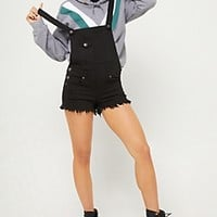 Black Clean Triple Button Overall Shorts