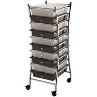 Blue Hills Studio 13-Inch by 32-Inch by 15-1/2-Inch by Frame Storage Cart with 10 Drawers, Clear/Smoke