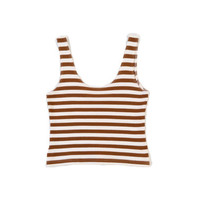 VINTAGE Striped Tank Top Toffee White Small by WearitWellvintage