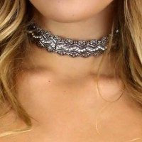 Silver Pendent encrusted choker