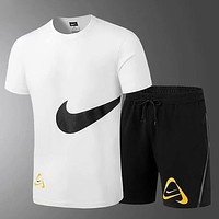 Trendsetter NIKE Men Gym Sport Print T-Shirt Top Tee Shorts Set Two-Piece Sportswear