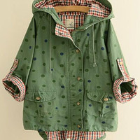 Polka Dot Plaid Inside Hooded Jacket