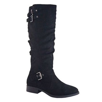 Special SALE! Buckle Detail Tall Black Suede Riding Boots