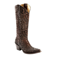 Corral Floral Lace Embroidered Chocolate Snip Toe Boots G1080