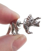 3D Triceratops Dinosaur Shaped Front and Back Stud Earrings in Shiny Silver