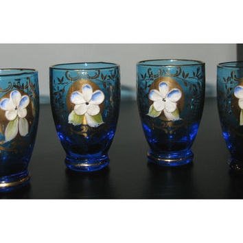 Murano glass - Murano shot glass - Hand Blown glass - Ceramic flower - Gilt paint - Venetian gold painted glass - Blue glass - retro barware