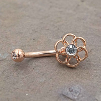 Rose Gold Geometric Flower Daith piercing Rook Earring Eyebrow Ring