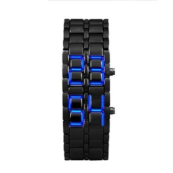 LED electronic watch Lava Style Iron  Black Bracelet LED Japanese Inspired Watch BLUE Stainless steel lava men watch hommes 03*