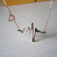 sideways heart beat, rose gold necklace,heart beat necklace,sweet love necklace