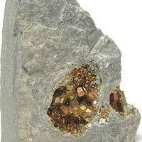 Iridescent Rainbow Pyrite Fools Gold Diploid Crystals in Matrix Raw Natural Mineral Specimen from Duff Quarry Ohio