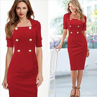 Womens Square Collar and Short Sleeve Bodyconl Dress Double-breasted and Wrap Dress