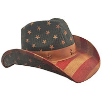 American Flag Country Distressed Tea Stain Star Cowboy Hat, Red White Blue USA
