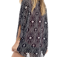 Black and White Printed Kimono