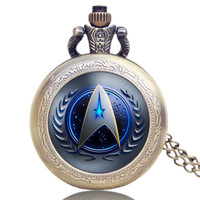 Star Trek Theme 3 Colors Pocket Watch With Necklace Chain