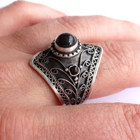 Hot Cool Victorian Style Unisex Sterling Silver Ring Silver Jewelry Gothic Ring Gemstone Jewelry Gorgeous Art Work With Diamond Shine