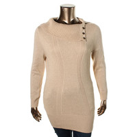 Style & Co. Womens Metallic Ribbed Knit Tunic Sweater