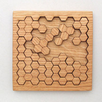 Wooden Honeycomb Puzzle Geometric Shapes by TimberGreenWoods