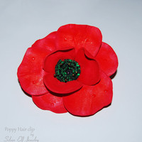 Poppy Hair clip, Red Flower hair clip, Poppy Alligator Clip